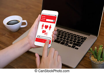 czerwone serce, online datujący, znaleźć, miłość, datując, para, datując, szczęście, cyple