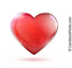 czerwone serce, połyskujący