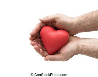 czerwone serce, w, człowiek, hands., sanitarne ubezpieczenie, albo, miłość, pojęcie