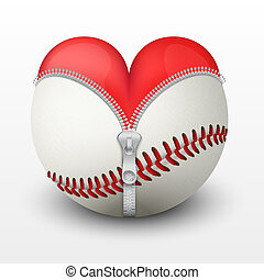 czerwone serce, wnętrze, baseballowa piłka