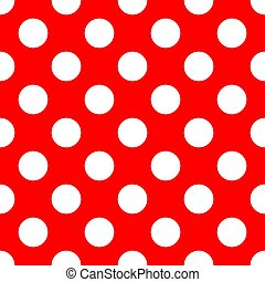 czerwone tło, biały, retro, seamless, wektor, wielokropek polki, próbka, cielna