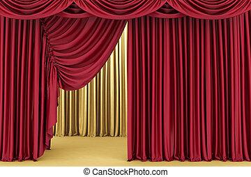 czerwone tło, teatr, kurtyna