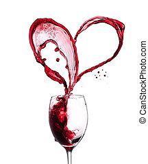 czerwone wino, serce, na, białe tło