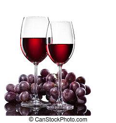 czerwone wino, w, okulary, z, winogrono, odizolowany, na...