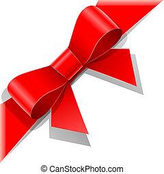 czerwony łuk, z, wstążka