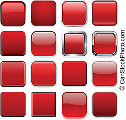 czerwony, app, icons., skwer
