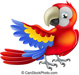 czerwony, ara, papuga, ilustracja