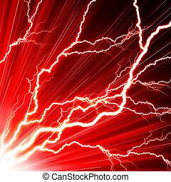 czerwony, błysk, elektryczny, tło, piorun