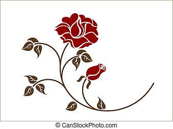czerwony, backgroud., róże, biały