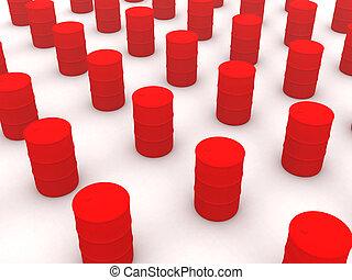 czerwony, baryłki