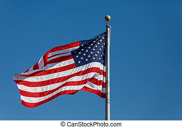 czerwony biel i błękitny, amerykańska bandera, w, odejść