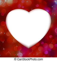 czerwony, bokeh, z, biały, serce, jak, tło., eps, 8