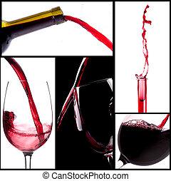 czerwony, bryzgając, wino, komplet