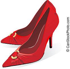 czerwony, bucik, pięta, wysoki