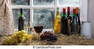czerwony, butelki, wino, biały grape, tło, okulary