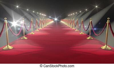 czerwony, carpet., looped, animation., hd