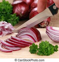 czerwony, cięcie, przygotowując, cebula, food: