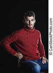 czerwony, ciepły, sweter
