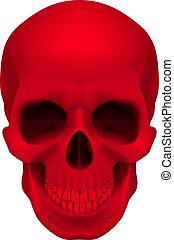 czerwony, czaszka