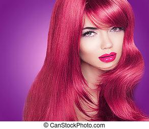 czerwony, długi, połyskujący, hair., piękny, fason, kobieta, portrait., jasny, makeup., kolorowanie, haired