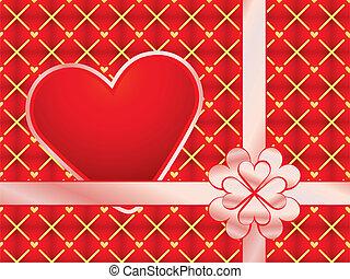 czerwony, dar, pakowacz, valentine