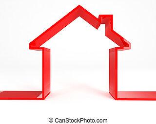czerwony, dom