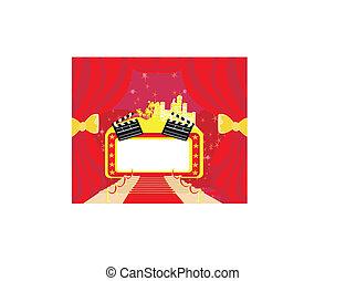 czerwony dywan, hollywood, premier, abstrakcyjny, karta, deska grzechotki, ułożyć
