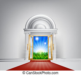 czerwony dywan, natura, drzwi