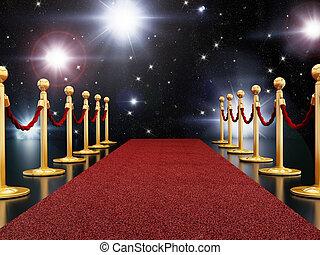 czerwony dywan, noc