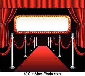 czerwony dywan, premiera filmu, elegancki, wypadek, czerwona firanka, teatr, i, tablica ogłoszeń, chorągiew