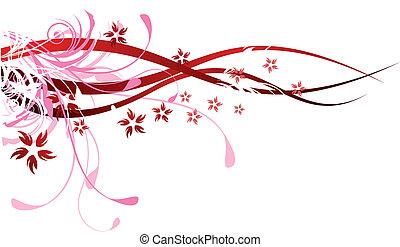 czerwony, flourishes