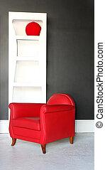 czerwony, fotel
