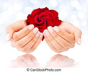 czerwony, francuszczyzna manicure, róża