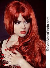 czerwony, hair., fason, dziewczyna, portret, z, długi, kędzierzawy włos, odizolowany, na, czarnoskóry, tło., manicured, nails.