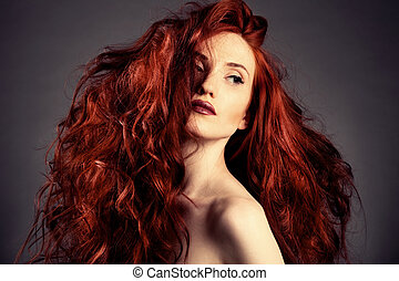 czerwony, hair., fason, dziewczyna, portret