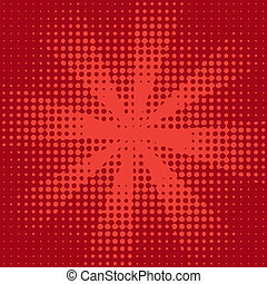 czerwony, halftone, promień słońca