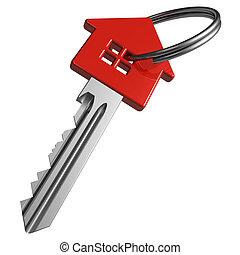 czerwony, house-shape, klucz