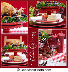 czerwony i biały, dziękczynienie, stół, collage