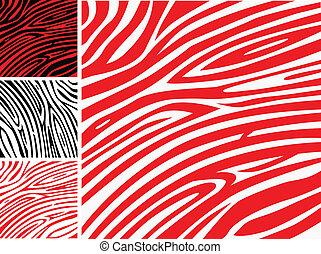 czerwony i biały, zebra skóra, -, zwierzęcy odcisk, albo, próbka, zbiór