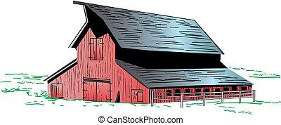czerwony, ilustracja, stodoła