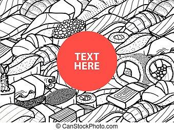 czerwony, koło, z, tekst, na, przedimek określony przed rzeczownikami, środek, od, obfitość, od, sushi, i, ewidencja, w, czarnoskóry, szkic, i, biały, plane., osłona, afisz, albo, papier płyta, mata, design., sprytny, japońskie jadło, ręka, pociągnięty, style.