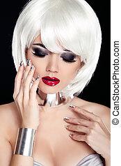 czerwony, lips., blond, kobieta, z, biały, krótki włos, odizolowany, na, czarnoskóry, tło., fason, i, piękno, portrait., sexy, girl., moda, styl