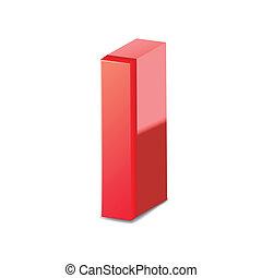 czerwony, litera, 3d