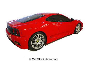 czerwony, ma na sobie wóz