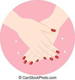 czerwony, manicure, siła robocza