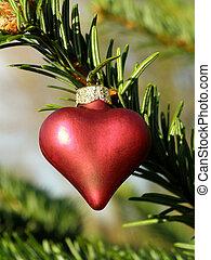 czerwony, metaliczny, boże narodzenie, serce