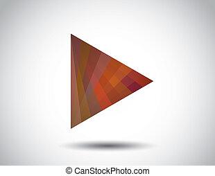 czerwony, modny, trójkąt, gra, ikona