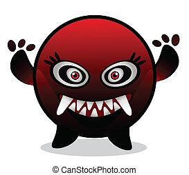 czerwony, monster/virus