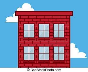 czerwony, okna, cegła budowa