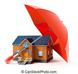 czerwony parasol, broniąc, dom, z, deszcz